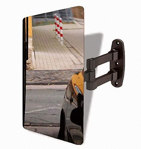 BRIO Kontrollspiegel GmbH Garagenspiegel - Metallspiegel 300 x 400 mm - Einparkhilfe mit Stabiler und praktischer Wand-Halterung - Ausfahrt + Einfahrt Wandabstand optimal einstellbar