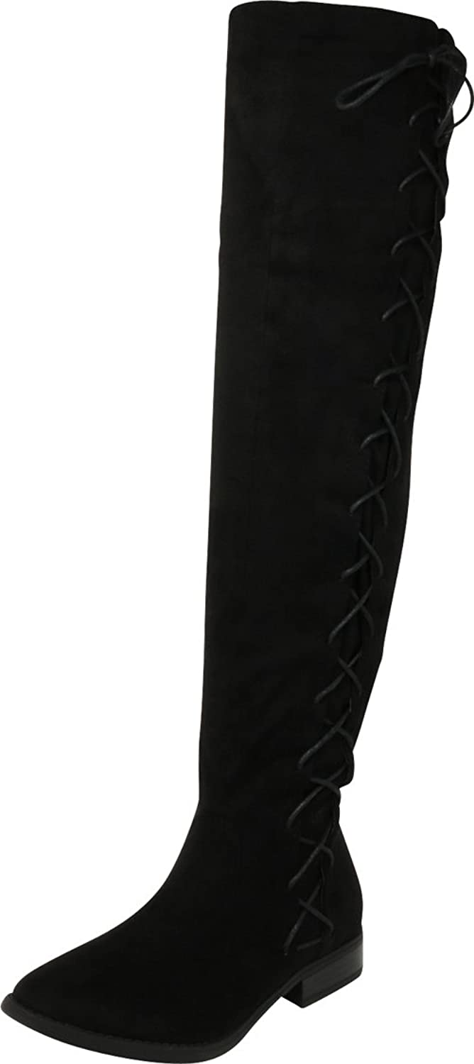 Cambridge Select Women's Closed Round Toe Thigh High Side Lace-up Corset Chunky Stacked Low Heel Over The Knee Boot