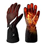 Heated Gloves for Men Women with Rechargeable Battery Heating Gloves Motorcycle for Winter, Electric Arthritis Hand Warmer Heated Ski Gloves Mittens for Skiing Hunting or Outdoor Working (Black-L)