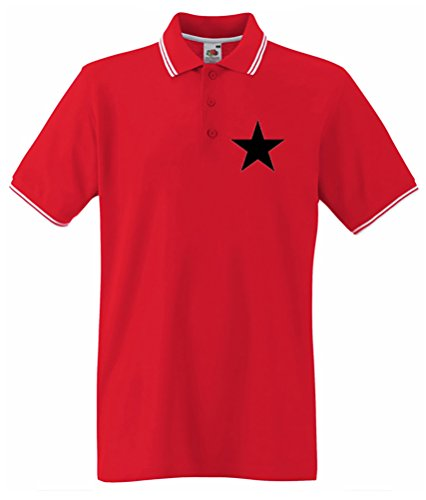 Black Star Red Tipped Polo poitrine Impression - Rouge - L