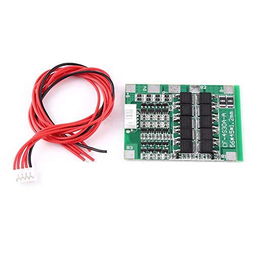 BMS PCB Batterie Schutzbrett, 4Series 30A 14.8V, mit Ausgleichfunktion für 18650 Li-Ion Lithium Batterie Zelle mit Draht
