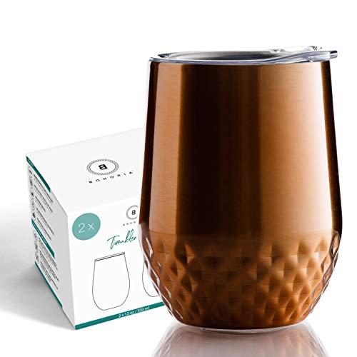 BOHORIA® Premium Edelstahl Isolierbecher 2x350ml   Thermo-Becher   Wein-Glas   Cocktail-Glas   Doppelwandig & Vakuumisoliert (2 x Bronze)