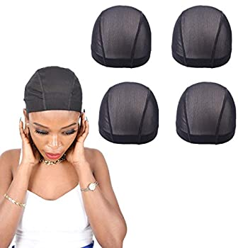 5 Pack Black Dome Mesh Wig Caps Elastic Stretchy Nylon Cornrow Breathable Black Color Net for Women and Men Medium Size