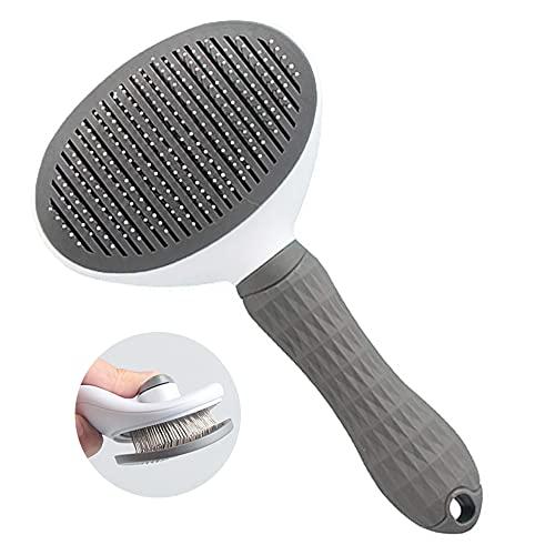 Haustier Katzenbürste Hundebürste Kurzhaar Grooming Brush Unterfell Katzenbürste Feinhaar Softbürste Automatischer Haarentfernungskamm mit Ein-Knopf-Reinigung