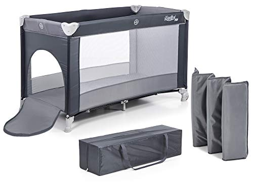 Moolino Fun - Cuna de viaje, 125 x 70 cm, plegable, con bolsa de transporte y apertura lateral, desde el nacimiento hasta los 15 kg, multicolor gris