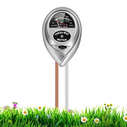 RileyKyi Soil PH Meter, 3-in-1 Soil Moisture/Light/pH Tester Gardening Tool Kits for Plant Care, for Garden, Lawn, Farm, Indoor & Outdoor Use (Silver)