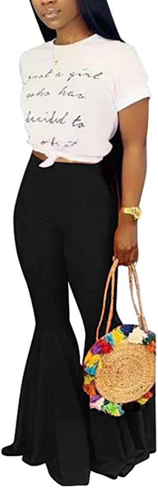 VOIKERDR Women's Casual Loose Stretch Bellbottoms Wide Leg High Waisted Long Pants Plus Size