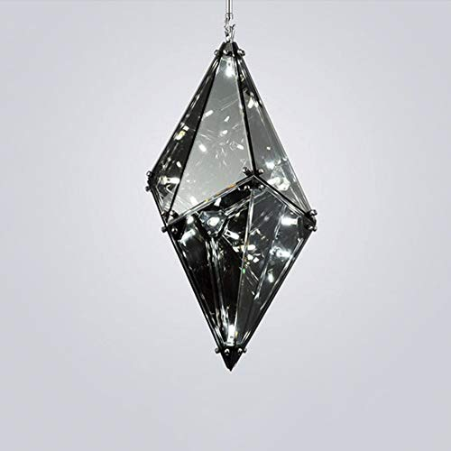LED individualidad moderna colgante claro soporte de metal dorado ahumado gris de cristal lámpara de techo iluminación de techo lámpara de diamante para dormitorio aseo cuarto de estar lámpara colgant