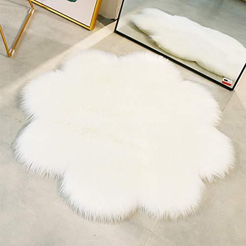 QINGLOU Faux Lammfell Schaffell Teppich (90 x 90 cm) Wohnzimmer Schlafzimmer Kinderzimmer/Als Faux Bett-Vorleger oder Matte für Stuhl Sofa (Weiß, 90 x 90cm)