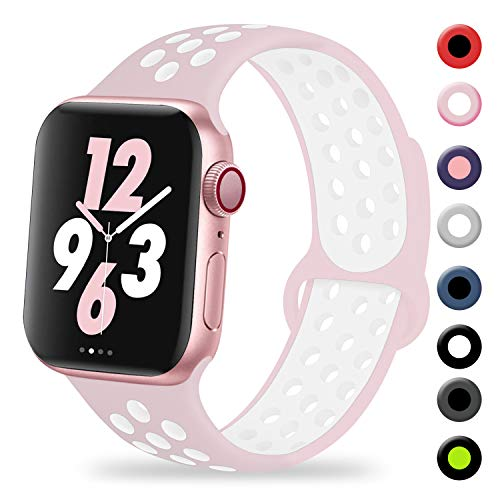 TIMTU Compatible with Apple Watch Band 38mm 40mm, for Women Men, Silicone Sport Band Compatible with iWatch Series 4/3/2/1, S/M Pearl Pink/White