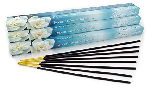 Luxflair Premium - Varillas de incienso (aroma a jazmín, tamaño XL, 10 paquetes de 8 varitas de incienso (80 unidades), larga duración de combustión de 45 min cada uno)