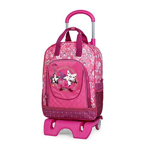 SKPAT - Rucksack für Schüler oder Reisen mit Trolley Backpack Stern Reversibel Pailletten 130395, Color Fuchsia
