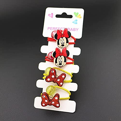 shengna Disney Mickey Minnie Élastique à cheveux en caoutchouc pour enfant avec épingle à cheveux pour filles