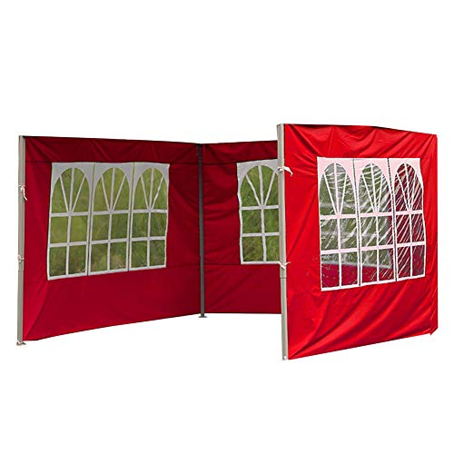 9.8ft/3M Garden Gazebo Side Panels Replacement with Side Windows, Waterproof, for Outdoor Camping Wedding Garden Party Anti-UV Oxford Cloth Panels Without Frame (29.5 * 6.5ft red Panel with windows)