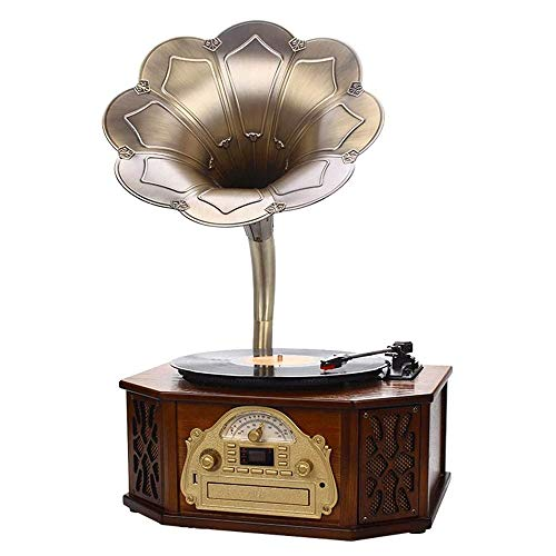 Music Box Bluetooth Recorder Radio Retro Phonograph Gramophone Record Player Music Dynamic Stereo Speaker, Retro Style Audio Cable Home Office Club Bar Decor Ornaments for Entertainment and Home Decor