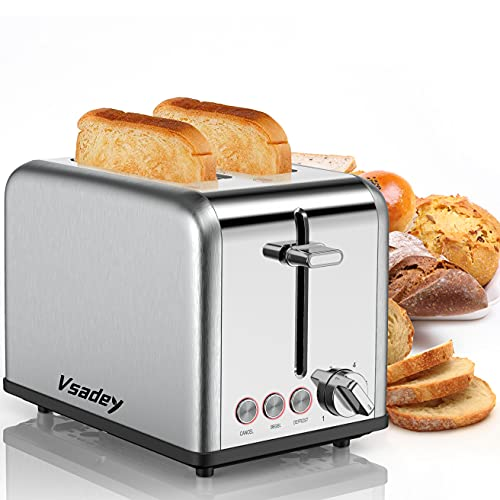Toasters 2 Slice , Vsadey Stainless Steel,Bagel Toaster - 6 Bread Shade Settings,Bagel/Defrost/Cancel Function,1.4in Wide Slots,Removable Crumb Tray,for Various Bread Types (825W) (Silver)