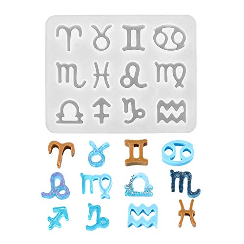 pegtopone Jewelry Silicone Casting Molds, Jewelry Casting Moulds and Tools Set 12 Horoscopes DIY Keychain Pendant with Holes Black Wax Rope and Pendant Buckle