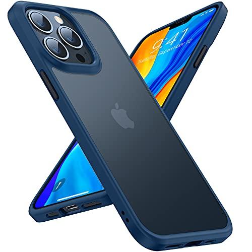 TORRAS Unzerstörbar für iPhone 13 Pro Hülle (Echt Militär Stoßfest) Hochwertiger Matte Samttouch Vollschutz Handyhülle iPhone 13 Pro Leicht Transparent Schutzhülle iPhone 13 Pro Slim Hülle Blau