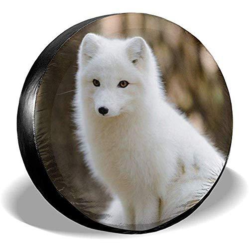 XZfly White Dog Arctic Fox Ersatzreifenabdeckungen, Universal-Radreifenschutz, wetterfestes Reiseauto-Zubehör