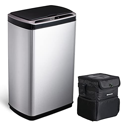 Automatic Sensor Trash Can 13 Gallon Kitchen, Touchless Motion Sensor Trash Can Large Stainless Steel Office Garbage Can Bin 50 Liter with Car Trash Can 1.85 Gallon SANIWISE