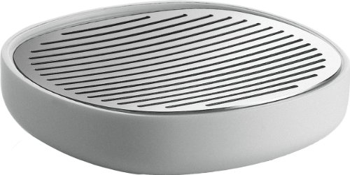 Alessi PL04 W Design Soap Dish, Stainless Steel, White, One size