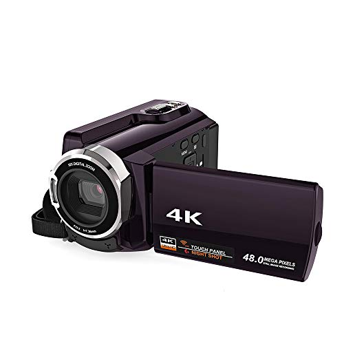 ZCFXGHH 4K Camcorder Video Camera Ultra HD 60 FPS Digital Video Recorder WiFi Night Vision LCD Touchscreen,Best Gift for Family, Friends