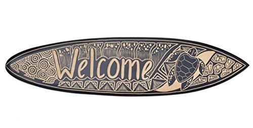 Interlifestyle Tabla de Surf 100cm Welcome con Tortuga Motivo Decoración para Colgar Lounge Estilo Tabla de Surf