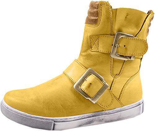 Andrea Conti Damen 0346833 Biker Boots, Gelb (Ocker/Braun 475), 38 EU