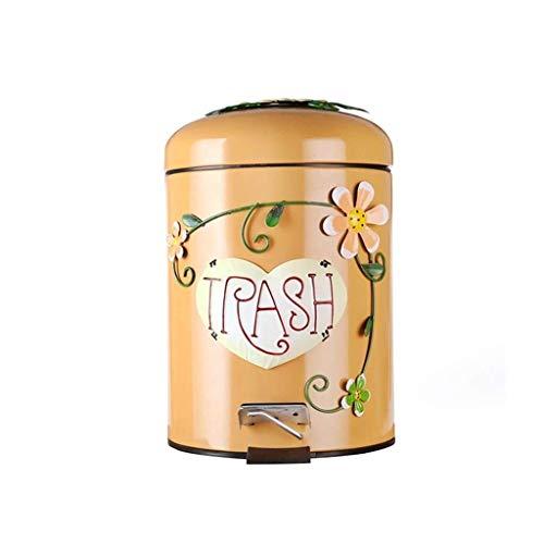 LIN-rlp Cuarto de niños Papelera, Creativo Pedal de múltiples Funciones Decorativo Cubo de Basura de jardín de Infancia Restaurante Bote de Basura Cafe Bar (Color : D, Size : 5L)