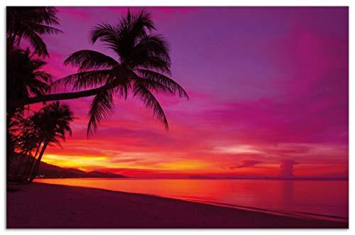 Wallario Herdabdeckplatte/Spritzschutz aus Glas, 1-teilig, 80x52cm, für Ceran- und Induktionsherde, Motiv Abendrot unter Palmen - Pinker Himmel am Strand