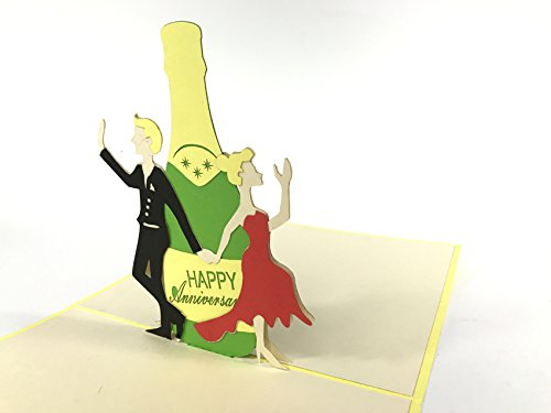 Champagne Fles Gefeliciteerd Gelukkig Verjaardag pop-up Card greating Thanks