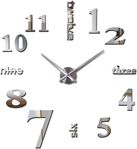 JPYH Orologio da Parete Silenzioso Preciso Fai da Te Facile da Montare Effetto 3D Riempire Vuoto Parete Moderno Adesivo Orologio Parete Decorazione per Casa, Ufficio, Hotel 40cm