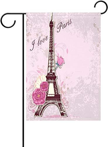 YATELI Drapeau de Jardin 28x40 Pouces J'aime Paris Tour Eiffel Rose Fleur Polyester Fête à la Maison en Plein air