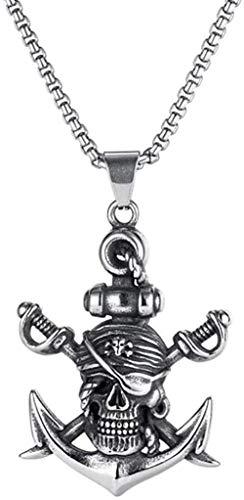 CCXXYANG Co.,ltd Collar Collar con Colgante De Barco Punk Rock De Calavera Vintage De Acero Inoxidable, Piratas del Caribe para Hombre, 60 Cm