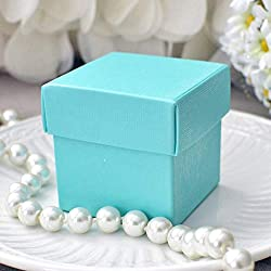 Mini Square 2x2x2 Wedding Bridal Shower Favor Box with Lid (10 Count)- Robin Egg Blue
