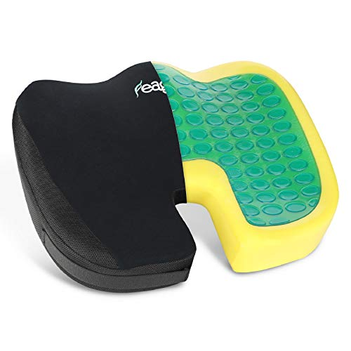 Feagar Chair Seat Cushion Gel - Coccyx Cushion with Memory Foam& Cooling Gel - Orthopedic Seat Cushion for Office Chair, Car Seat, Recliner, Gaming Chair, U Shaped Seat Cushion with Washable Covers