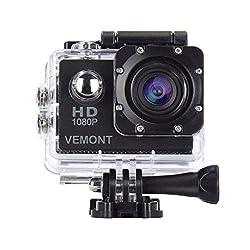 Vemont 1080p 12MP Action Kamera Full HD 2,0 Zoll Bildschirm 30m/98 Fuß wasserdichte Sports Kamera mit Zubehör Kits für Fahrrad Motorrad Tauchen Schwimmen usw (Schwarz)