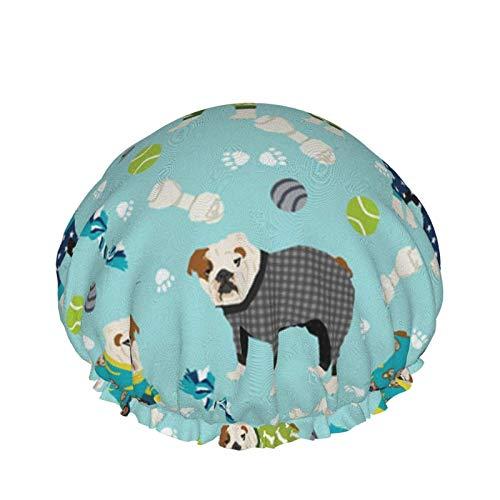 RY804-T Duschhaube für Damen, langhaarig, niedliche englische Bulldogge, Schlafanzug, wasserdicht, wiederverwendbar