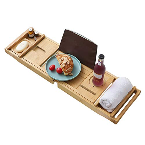 PPGE Home Bamboo Bathtub Caddy Bath Tub Tray Adjustable Bridge with Wine glass Holder Phone Slot Extendable Bath Board Luxury Baths Gift, Natural Color+PinkWood Color