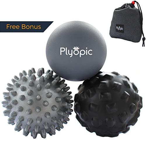 Plyopic Massageball Set – Inklusive Faszienball mit Noppen, Igelball und Massageballe. Myofasziale Selbstmassage, Triggerpunkt und Fersenschmerzen (Fasziitis Plantaris) Therapie: Rucken, Nacken, Fuß