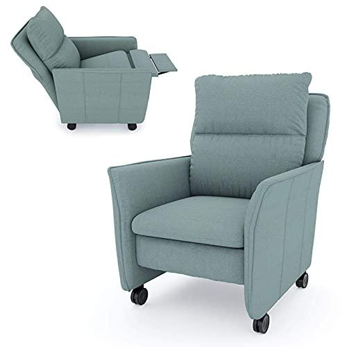 place to be. Sillón de relax XXL con función reclinable y función de sueño sobre ruedas ligeras, silla de televisión con ruedas, silla de televisión con ruedas, salvia motorizada