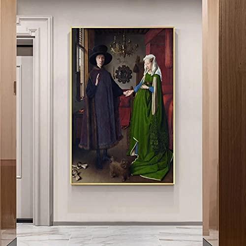 Sanguolun Cuadros Decorativos Célèbre peinture Van Eyck Arnolfini Mariage Portrait affiche Impression mur Art Photo pour Chambre mur décoration de la Maison 60x90cm