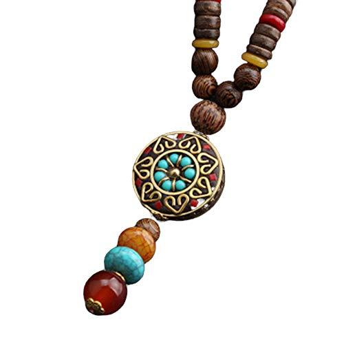Collar Budista Largo con Cuentas de Madera | Etnico Buda | Mujer...