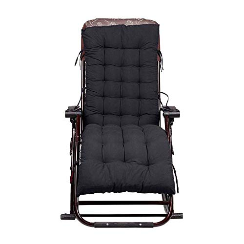 NV Microfiber Chair Pad Seat Cushion, Solid Soft Garden Sun Lounger Recliner Chair Cushion, Thicken Foldable Rocking Chair Cushion, 48x155cm black