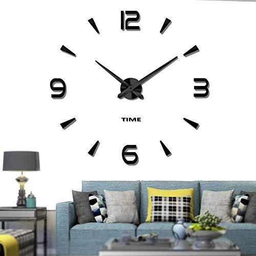 YIQI Orologio da Parete Grande Senza Cornice Fai-da-Te Moderno Muto 3D Adesivo Specchio in Metallo Grandi Orologi Decorazioni per l'home Office (Stile 1 Nero)