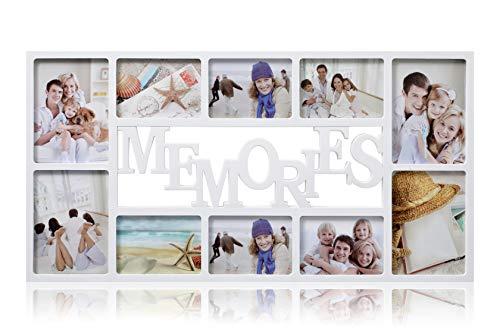 ARPAN 10 Multi-Fotorahmen, aus Polystyrol, für Fotos mit je 15 x 15 x 15 cm, Weiß, Kunststoff, 71 x 36 x 3 cm