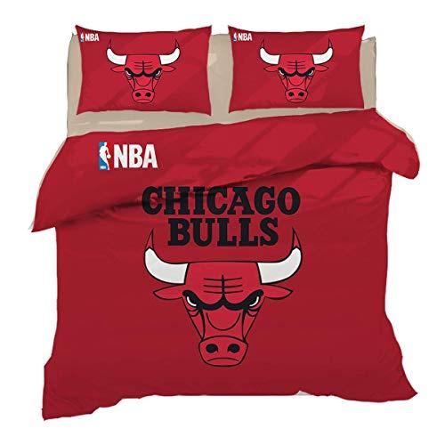 QWAS Chicago Bulls - Juego de cama (100% microfibra, 1,135 x 200 cm + 80 x 80 cm x 2)