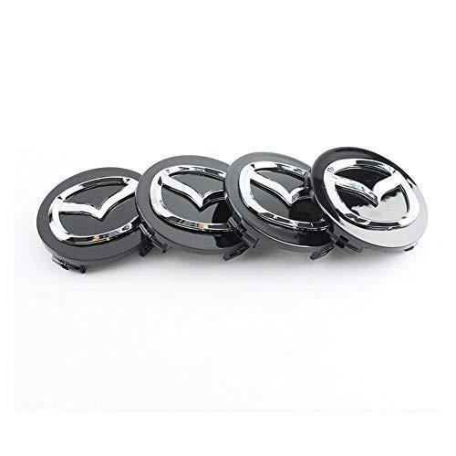 SXZG Juego de 4 Tapas centrales de Cubo de Rueda de aleación, 56 mm, tapacubos para Logotipo Cromado Negro Mazda, Accesorios de Estilo de Coche