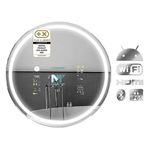 Mues-Tec runder Smart-Mirror, eleganter digitaler Android Smart-Spiegel MIA 70, Touch & Voice Control (Alexa), Smart Home Control, Google PlayStore, Interior Design Accessoire mit Internetanbindung