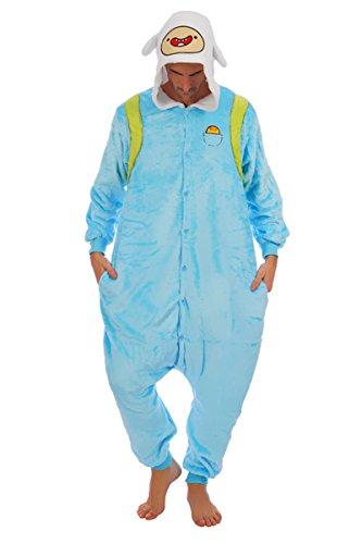 Disfraz unisex de Aventura Rey Finn el Humano Jake el Perro Disfraz de pijama con capucha para dormir disfraz de carnaval Finn el Humano, S (altura 150 cm-160 cm)